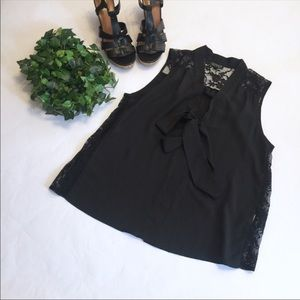 TOPSHOP tank blouse lace with tie front detail